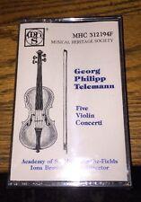 Georg Philipp Telemann Five Violin Concerti Cassette New!