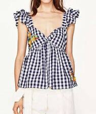 ZARA Bluse Gr. M kariert karo Blumenstickerei checked Gingham Embroidered Top