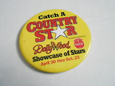 """VINTAGE 3 1/2"""" PINBACK BUTTON #104-091 - CATCH A COUNTRY STAR - DOLLY WOOD"""