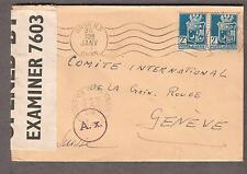 WWII UK 7603 PC90 German and US censor cover Oran Algeria to Red Cross Geneva