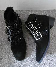 Topshop Black KROWN Studded & Buckle Flat Ankle Boots Size UK 7 EU 40