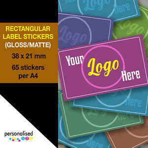 38x21mm Small Personalised Rectangular Stickers Rectangle Logo Labels Custom