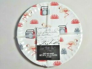 Kensie Home Retro Radio Pink Flamingo Salad Plates 6Pc Lightweight Melamine Gift