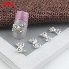 10 x 3D Silver Glitter Bow Tie Rhinestones Nail Art Bowknot DIY Decorations