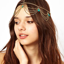 USA -Women Fashion Metal Rhinestone Head Chain Jewelry Headband Head Piece Hair