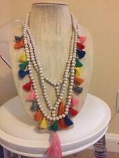 NWOT Multi Color Rainbow Green Tassel Long Bead Layering Necklace