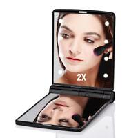 2X Magnifying Pocket Mirror Makeup Mirror Portable 8 LED Folding Cosmetic Mirror