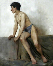 GAY Oil painting Henry-Scott-Tuke-Seated-Nude-Study model nude strong young man