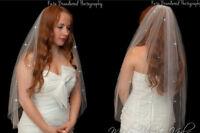 "Ivory/White 1 Tier Waist Length Bridal Wedding Crystal Veil 30"" Cut Edge Soft"