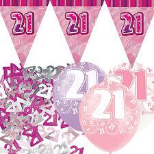 Pink Silver Girl Glitz 21st Birthday Flag Banner Party Decoration Pack Kit Set