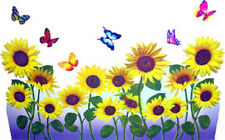 """SUNFLOWER & BUTTERFLY WALL DECAL REMOVABLE 24"""" WASH NEW in pkg SEE PICS>>>>>>>"""