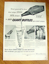 1956 Beer Ad Party Quarts Glass Pampers the Flavor Peak