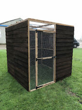 Fully Boarded Walk In Outdoor Animal Enclosure Mesh Roof Chicken Rabbit Pet Run