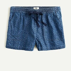 J CREW: Seaside Shorts in Indigo Leopard (M)