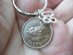 "80th Birthday Gift 1940 old Farthing coin keyfob with an ""80"" charm 80th present"