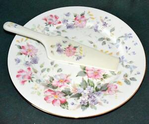 Andrea by Sadek - Pretty Pink Floral Cake Plate w/Cake Knife - MIB/NIB