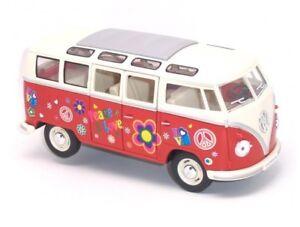 "7"" Kinsmart 1962 VW Volkswagen Bus Decal Diecast Model Toy Car Van 1:24 Orange"