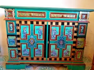 Cupboard Preservative Painted Decorated Golden Furniture Luxury Design Shabby