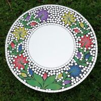 Mosaic Mirror 50 cm Colour Glass Fair Trade Hand Made Lotus Flower Design Wall