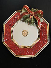 "FITZ & FLOYD Damask Holiday Christmas Platter 13""  New in Box"