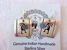 Signed Navajo Tommy Billy Dangle Earrings Kokopelli Motif Sterling Silver