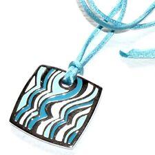PIERRE LANG Collier pendentif et cordon rhodium argenté bleu bijou necklace A1