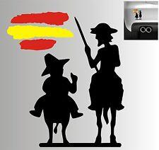 Sticker Vinilo - Quijote y Sancho con bandera de España - Vinyl - Pegatina