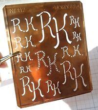 "RK R K monogram stencil embroidery antique 5"" LARGE copper metal initials letter"