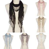 Fashion Women Tassel Lace Floral Knit Mantilla Scarf Shawl Wrap Fringe Scarves