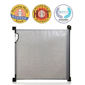 New Dreambaby Retractable Grey Black Security Baby Pet Safety Gate 140cm Dream