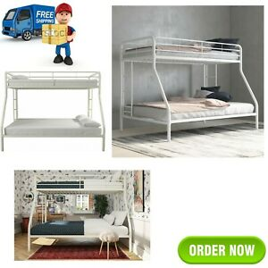 Bunk Beds Twin over Full Kids Girls Boys Bed Teens Dorm Bedroom Furniture White