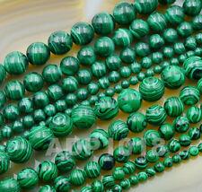 Natural Malachite Gemstone Round Spacer Loose Beads 16