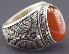 Sterling silver men ring handmade, red agate natural gemstone, steel pen crafts