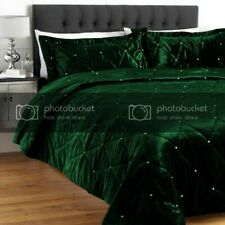 5 PC Twin Green Crystal Quilted VelvetBed Spread Set Stone Design