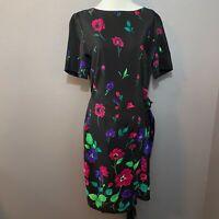 Liz Claiborne Dresses Size 8 Silk Black Floral Knee Length Short Sleeve Dress