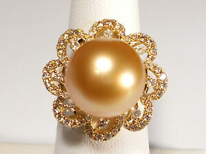 huge 13.5mm golden South Sea pearl ring, diamonds, solid 14k yellow gold.