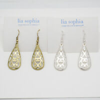 Lia sophia jewelry matte gold tone unique silver plated openwork hoop earrings