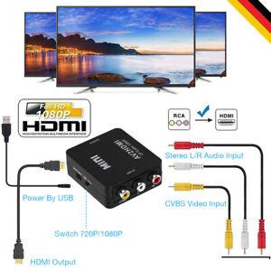 Mini AV to HDMI Video Audio Konverter 1080P 3 RCA CVBS zu HDMI Adapter Converte