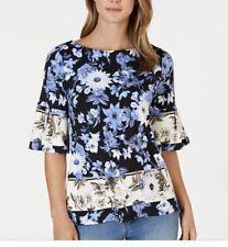 Charter Club Women's  Petite Medium  Floral Print Bell Sleeve Top