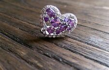 Sterling Silver Ring Purple Cubic Zirconia Heart Ring Size 7 US N AU