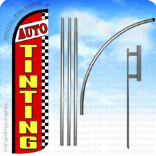 Auto Tinting - Windless Swooper Flag 15' Kit Feather Banner Sign - rz