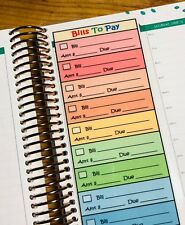 Bills to Pay Rainbow Two Sided Short Dashboard for use w Erin Condren Planner
