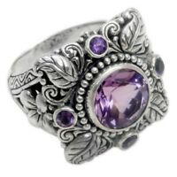 Dazzling Silver Amethyst Ring Vintage Women Wedding Bridal Jewelry Gifts Sz 6-10