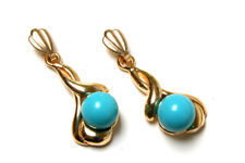 9ct Gold Fancy Turquoise dangly drop earrings Made in UK Gift Boxed