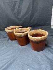 Vintage Hull Oven Proof USA, Brown Drip Glaze Pottery Coffee Mug, Set Of 3