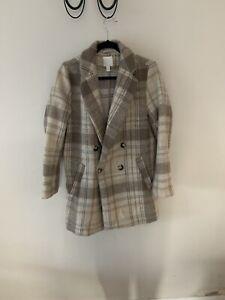H&M Beige Checked Coat UK 14