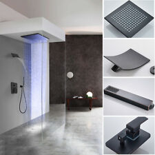Oil Rubbed Bronze 10'' LED Rain Shower System Faucet Set Waterfall Spout Sprayer