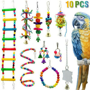 10X Parrot Hanging Bird Toy Swing Harness Cage Ladder Parakeet Cockatiel Budgie