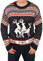 Threesome Reindeer Unisex Men's Ugly Funny Rude Knitted Xmas Jumper Sweater NEW