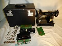 Great Cond 1950 Singer Featherweight 221 Sewing Machine w/ Box & Extras